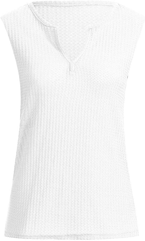 Nufelans Women Tank Tops Waffle Knit Tunic Loose Sleeveless Button Up V Neck Shirts Camisoles Vest Blouse