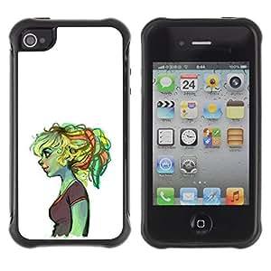 Suave TPU GEL Carcasa Funda Silicona Blando Estuche Caso de protección (para) Apple Iphone 4 / 4S / CECELL Phone case / / Ogre Girl Sad Deep Ugly Duckling Green /