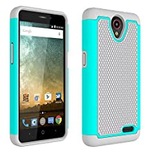 ZTE Prestige N9132 Case,ZTE Avid Plus Z828 Case,ZTE Maven 2 Z831 Case, ZTE Sonata 3 Z832 Case,ZTE Avid Trio Z833 Case,L00KLY [Drop Protection] [Shock Absorption] Hybrid Dual Layer Armor (Mint Green)