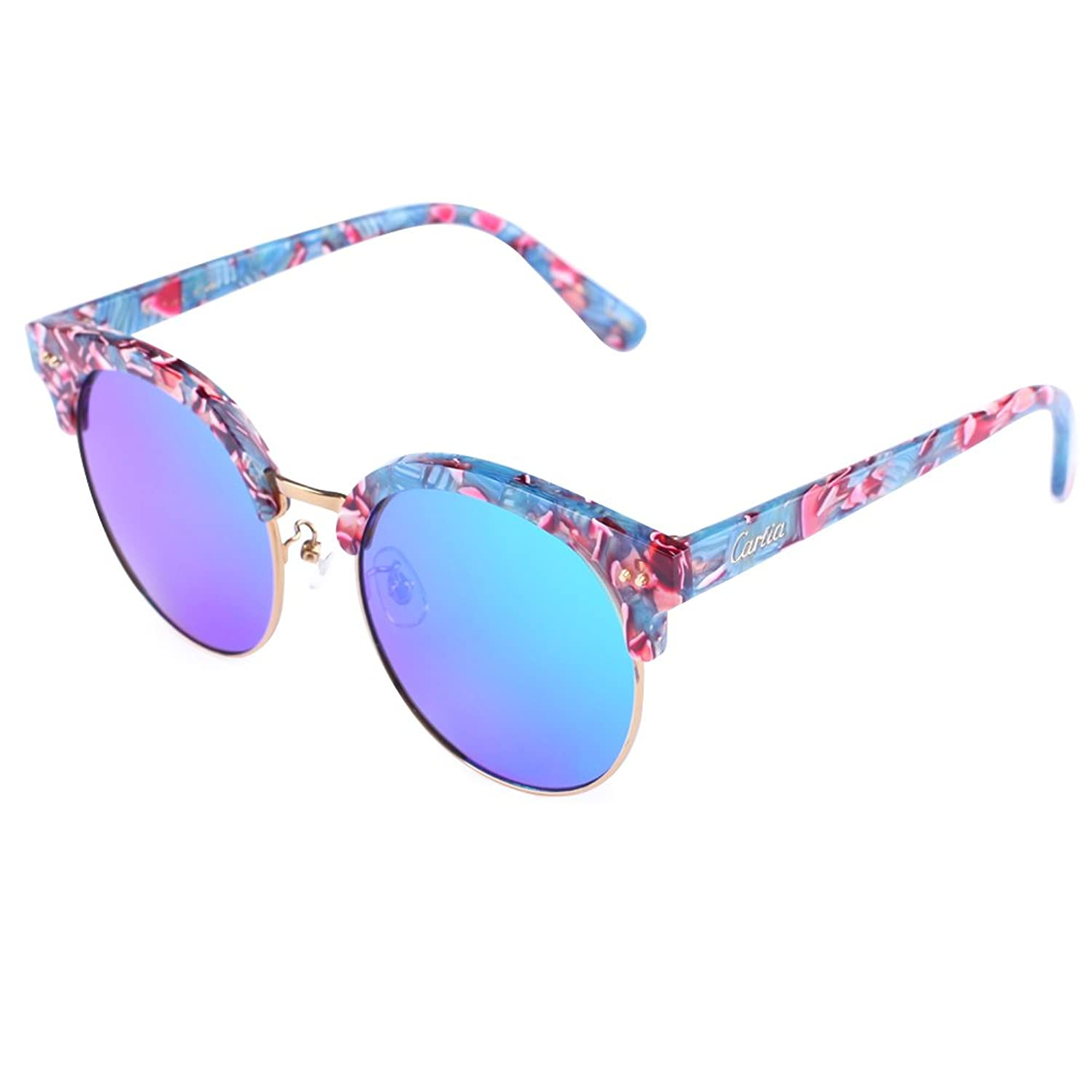 mirrored womens sunglasses wkli  cheap Carfia Round Womens Sunglasses Polarized Mirrored Sunglasses Plank  Frame with Box, 100% UV400
