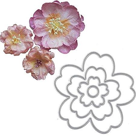 SODIAL 4 unids flor de corte muere plantilla del molde de la plantilla para la fabricacion de tarjetas de papel del album del album del libro de recuerdos ...