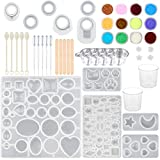 SUBANG 15 Pack Jewelry Casting Molds Silicone Resin Jewelry Molds with 5 Wooden Stick, 5 Plastic Spoons, 5 Plastic Droppers, 4 Cups and 1 Glitter Powder Sequins