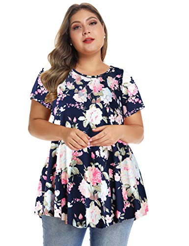 - MONNURO Womens Short Sleeve Casual Loose Fit Flare Swing Tunic Tops Basic T-Shirt Plus Size(Floral02,1X)