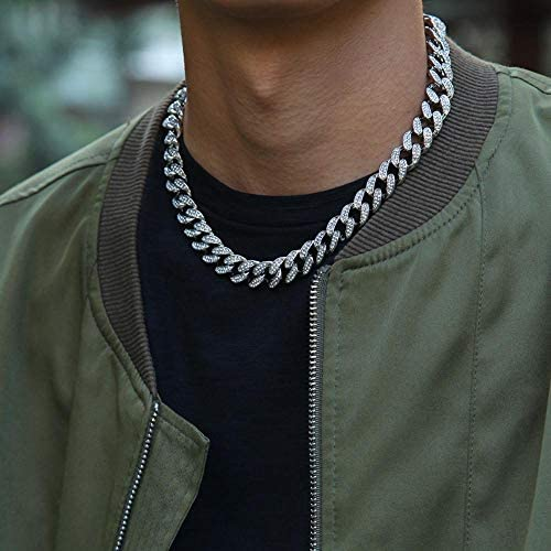 NO BRANDED 13mm Iced Out Cuban Necklace Chain Hip Hop Jewelry Choker Gold Silver Color Rhinestone Clasp for Mens Rapper Necklaces Link 8inchand30inch