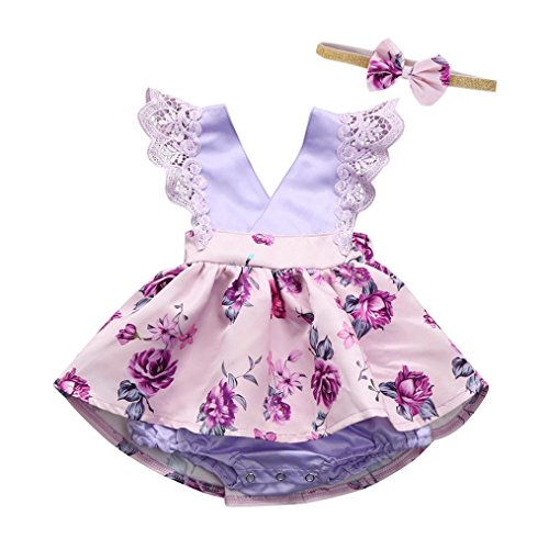 Aniywn Toddler Baby Adorable Gilrs Sleeveless Frilly Lace Ruched Romper Jumpsuit Headband Floral Ouifit (3M, Purple) (Cotton Adorable Romper Cottons)