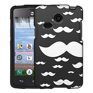 LG Sunrise Case, Snap On Cover by Trek Multiple White Mustache on Black Case