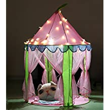 Girls Princess Castle Play Tents, EocuSun Christmas Xmas Children Pink Play Tent House with LED Lights and Storage Case for Indoor and Outdoor Use, Santa Gifts
