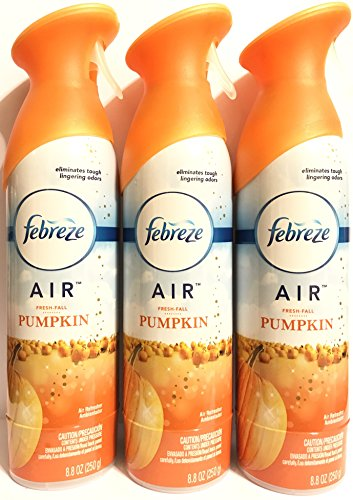 Febreze Air - Air Freshener Spray - Limited Edition - Winter Collection 2017 - Fresh-Fall Pumpkin - Net Wt. 8.8 OZ (250 g) Per Bottle - Pack of 3 Bottles