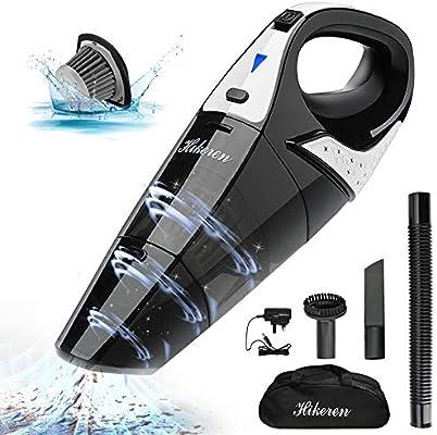 Hikeren - Mini aspirador inalámbrico recargable de 100 W, aspirador doméstico ligero y potente, 3 boquillas, para casa, coche, húmedo y seco: Amazon.es: Hogar