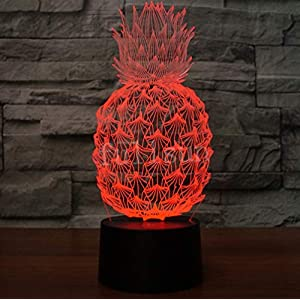 Novelty 3D Illusion Lamps LED Pineapple Night Lights USB 7 Colors Sensor Desk Lamp for Kids Christmas Birthday Gifts Home Decoration