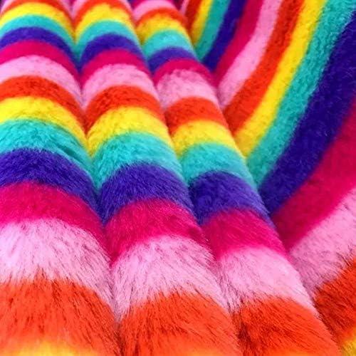 Tela de felpa de color arcoíris, tela cálida para bricolaje ...