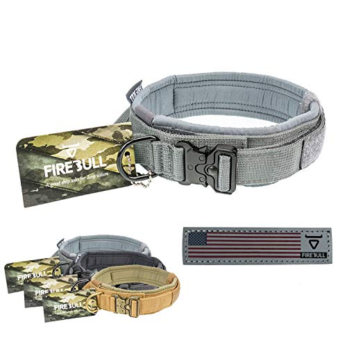 FireBull Tactical Dog Collar – Neoprene – Reflective Patch – Adjustable Dog Collar with Control Handle for Small Medium & Large Dogs(Medium, Grey)