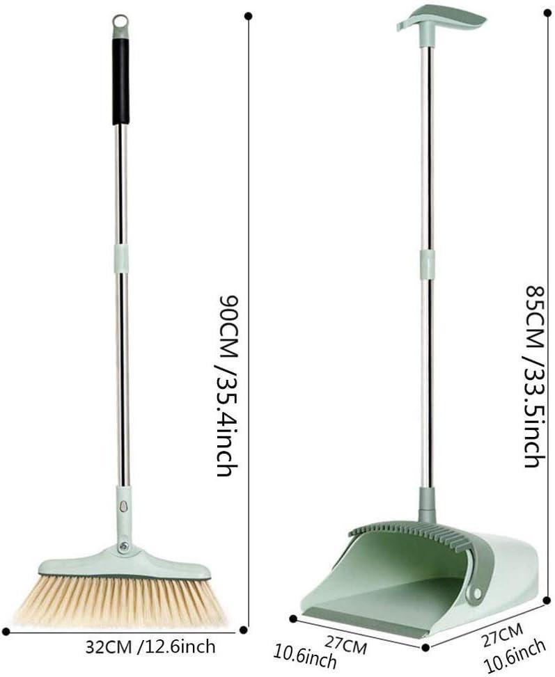Haus und in der Lobby Besen und Kehrschaufel Combo-Premium-Pinsel Gr/ün F-XH Besen und Kehrschaufel Set-Self-Cleaning Besen Bristles-Ideal K/üche