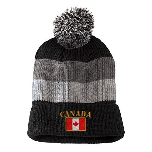 Canada Flag Embroidery Design Vintage Striped Beanie Removable Pom Pom Black/grey Stripes