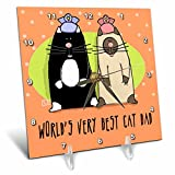3dRose dc_33982_1 World S Best Cat Dad Cute Cartoon Kittens Pets Animals-Desk Clock, 6 by 6-Inch