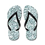 CafePress Blue Silver Glitter Sequin Flip Flops Wedding - Flip Flops, Funny Thong Sandals, Beach Sandals