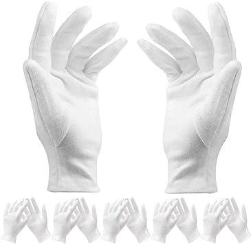 12 pares de guantes de algodón blanco delgados ligeros y suaves ...