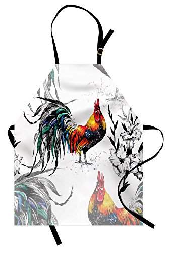 Lunarable Gallos Apron, Roosters Crowing Sound Silhouettes and Flowers Insect Butterfly Standing Plumage, Unisex Kitchen Bib Apron with Adjustable Neck for Cooking Baking Gardening, Black White