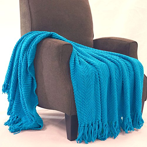 Home Soft Things BOON Knitted Tweed Throw Couch Cover Blanket, 50 x 60, Mediterranean Blue