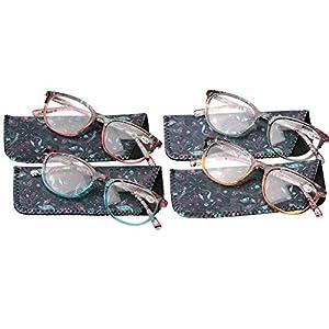 SOOLALA Designer Spring Hinge Wayfarer Wide Lens Reading Glass w/ Pouch, 4pcs, +2.0