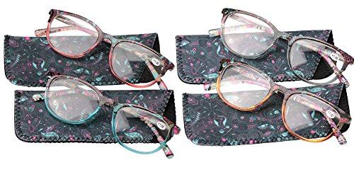 SOOLALA Designer Spring Hinge Wayfarer Wide Lens Reading Glass w/ Pouch, 4pcs, - Wayfarer Glasses Cheap