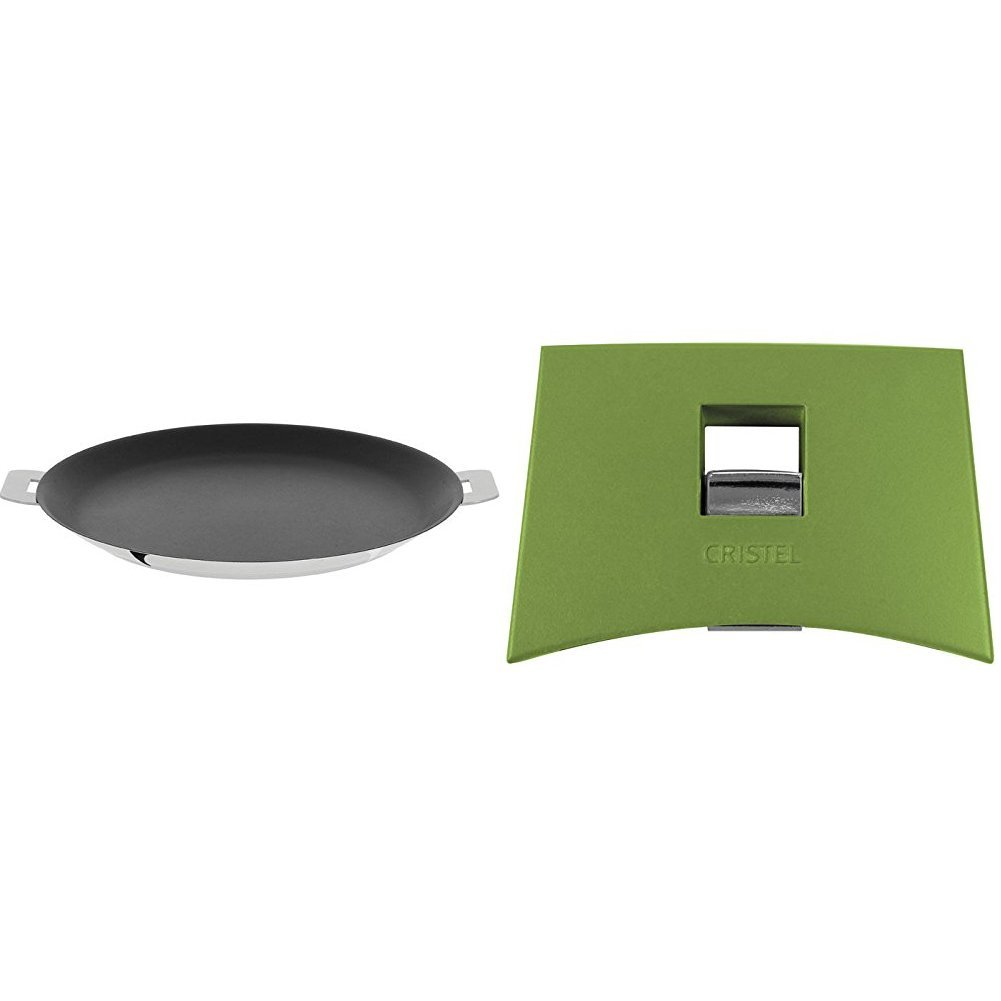 Cristel CR30QE Non-Stick Crepe Pan, Silver, 12'' with Cristel Mutine Spplmavt Set of Handles, Green