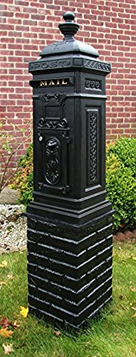Ecco 8 Tower - Ecco Victorian Tower Mailbox in Black E8BK, Locking with Keys