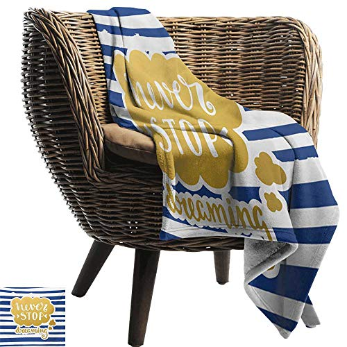 BelleAckerman Beach Blanket,Quote,Marine Themed Inspirational Phrase for Life Navy Vintage Style and Artisan Design,Yellow Blue,300GSM, Super Soft and Warm, Durable -