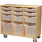 Constructive Playthings WB-633 Math and Construction Birch Cart with Write and Wipe Board On the Back, Grade: kindergarten to 6, Brown