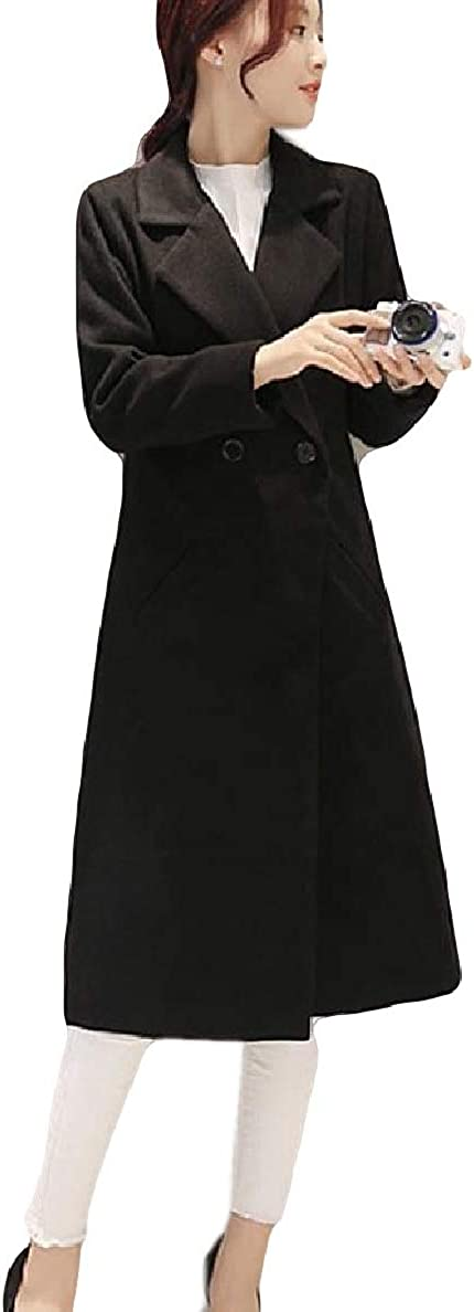 XiaoShop Womens Pockets Slim Fit Longline 1 Button Coat Jacket Overcoat