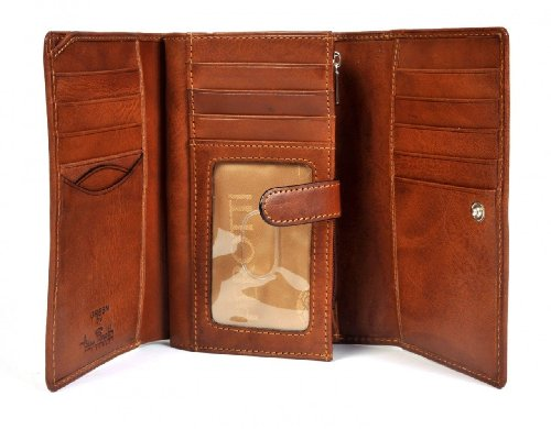 Italian Cow Leather Trifold Euro Clutch Wallet with ID Window and Coin Pouch ()