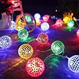 HP95 20LED Moroccan Ball Lights Silver Globe Fairy Hanging Lantern Patio Lamp Bulb Decoration for Xmas Tree Wedding Party Home Decor (1.5M with 10 led Lamp, Multicolor)