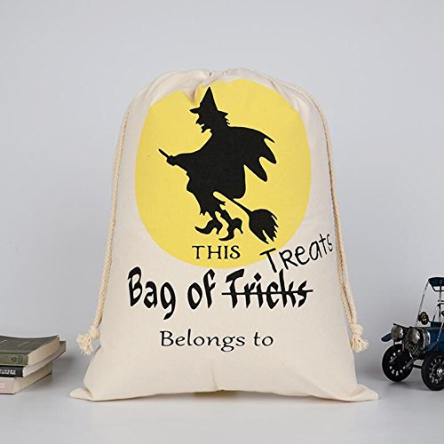 Kicode New Halloween Styling Canvas Pouch Beam Port Drawstring Sack Candy Gift Storage Bag