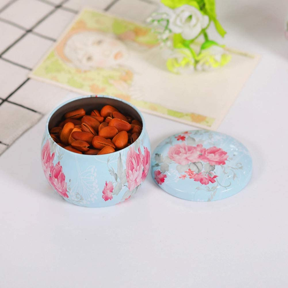 Smartcoco Blue Rose Printing Drum-Shaped Tinplate Candy Box Multifunction Tea Pot Cookie Case Home Decor Festive Party Supplies