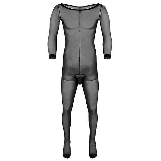 Sleeping Bag Style Double Men Sheer Tight Body Stocking Bodysuit For Women Men