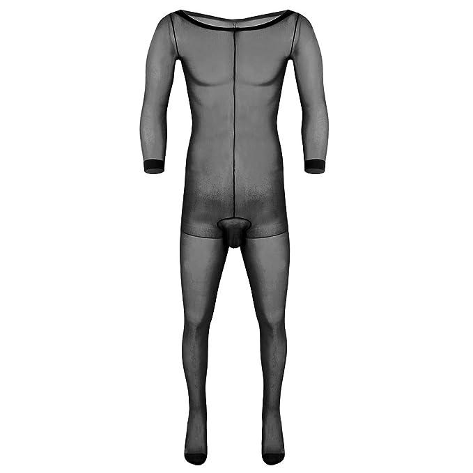 4f7a1b52f35 Alvivi Men s Full Body Pantyhose Hosiery Bodystocking Sheer Bodyhose See  Through Body Stocking Black One Size