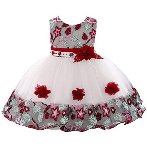 1 Year Old Burgundy Vintage African Summer Formal Dresses for Girls 6-12 Months 9M Easter Christmas Floral A Line Baby Girl Toddler Dress 12M -