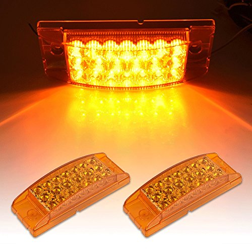 Catinbow 2Pcs 6x2 Inch Amber Side Marker Light White Lens 20 LED Rectangle Fender Marker Light Turn Signal Light High Low Brightness Marker Light