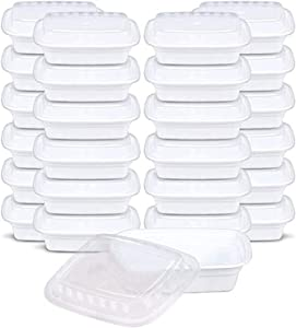 Meal Prep Containers Microwave Freezer Safe Food Storage Containers Meal Prep, Plastic Food Prep Lunch Containers With Lid, Bento Box, by SEWTCO (White, 24oz 50 pack)
