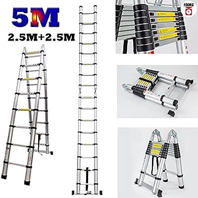 Escalera telescópica de aluminio, 5 m, duradera, multiusos, con marco en A, extensible: Amazon.es: Bricolaje y herramientas