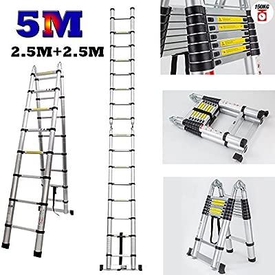 Escalera telescópica de aluminio, 5 m, duradera, multiusos, con ...