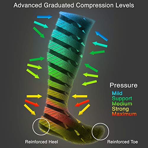 3 Pair EvoNation Men's USA Made Graduated Compression Socks 20-30 mmHg Firm Pressure Medical Quality Knee High Orthopedic Support Stockings Hose - Best Comfort Fit, Circulation, Travel (Large, Black) by EvoNation (Image #9)