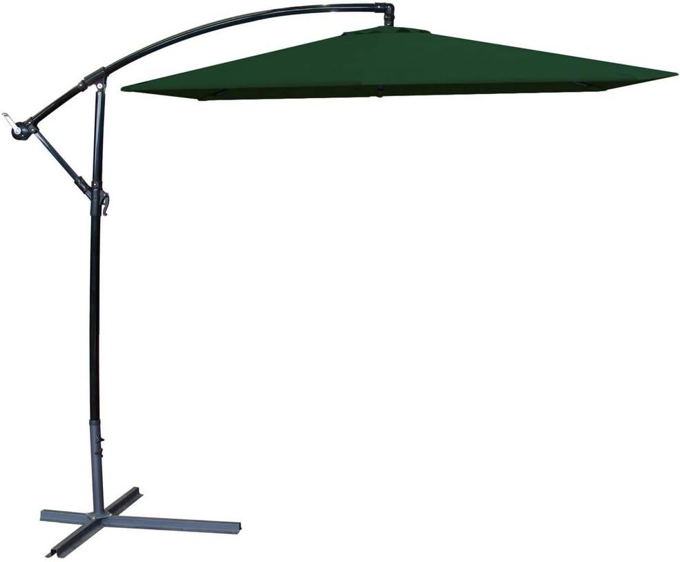 Parasol excéntrico de Aluminio Verde con ventilación para jardín de 270 cm Garden - LOLAhome: Amazon.es: Jardín
