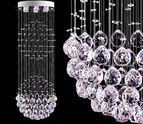LED Modern Fandelier White Chandelier K9 Crystal Ball Chandeliers Cylinder Flush Mount Ceiling Pendant Lighting Fixture