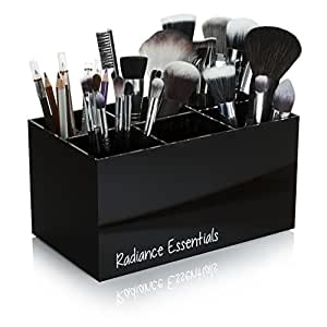 Radiance Essentials Makeup Brush Holder Organizer. Extra Tall Large Cosmetic Brush Holder Storage with Deep Sections, Dividers and Bottom Grippers. Make Up Brushes and Organizer Storage - 6 Section