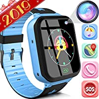 """Kids Smart Watch Phone Kids Smart Watch Phone With GPS Tracker IP68 Waterproof for 3-14 Girls Boys 1.44""""Touch Screen 2 Way SOS Call Smartwatch Camera Math Games Alarm Clock Anti-Lost Wristband Learnin"""