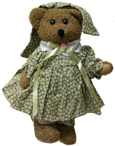 Satin Bear Green - Plush Bear 12 Inches Stuffed Animal with Green Calico Flowers and Satin Ribbon with Lace Detailing