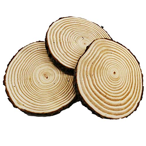 Large Unfinished Natural Wood Slices 7 - 8 inch 3 Pieces Wood Circles with Tree Bark for Table Centerpieces ,Crafts for DIY, Christmas Ornaments, Wedding Home Decor (Circle Wood Craft)