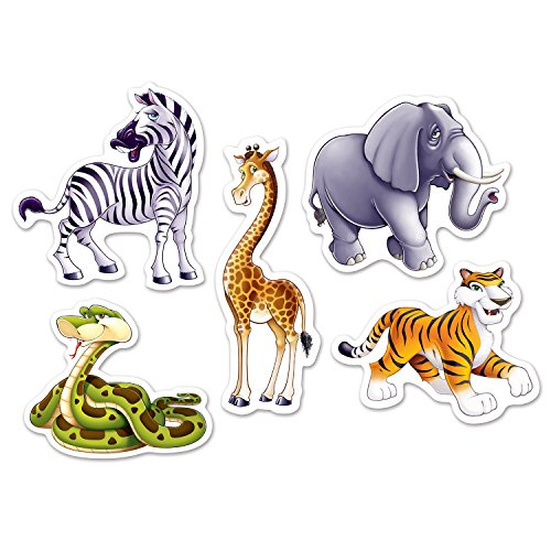Beistle 54712 Mini Jungle Animal Cutouts (10 Pack), 4.5