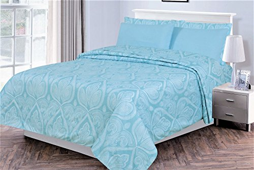 6 Piece: Paisley Printed Bed Sheet Set 1800 Count Egyptian Quality HOTEL LUXURY Flat Sheet,Fitted Sheet with 4 Pillow Cases,Deep Pockets, Soft Extremely Durable by Lux Decor (Queen, BLUE)